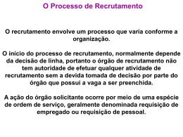 O Processo de Recrutamento