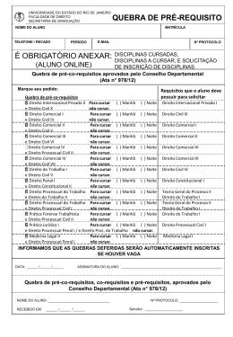 Pré-co requisitos aprovados pelo Conselho Departamental