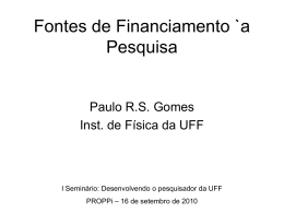 Fontes de Financiamento `a Pesquisa - Proppi
