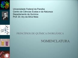 Nomenclatura - Departamento de Química - UFPB