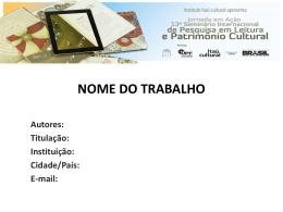 NOME DO TRABALHO