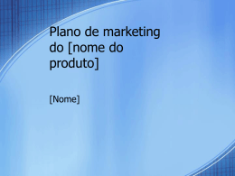 Plano de marketing do nome do produto