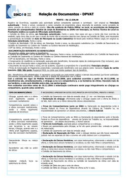 Relação de documentos - SINCOR-GO