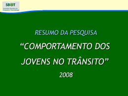 COMPORTAMENTO DOS JOVENS NO TRÂNSITO
