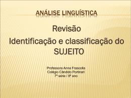 Análise lingüística - Colégio Candido Portinari