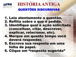 história antiga questões discursivas