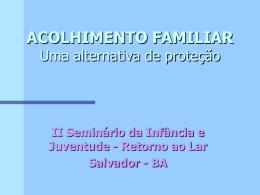 PROJETO FAMÍLIAS DE APOIO