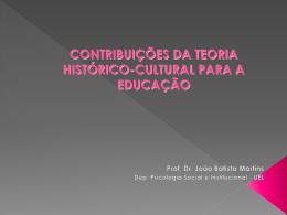 CONTRIBUIÇÕES DA TEORIA histórico cultural