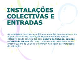 Instalacoes colectivas e entradas - Projecto de Instalações Eléctricas