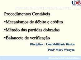 Débito e crédito Procedimentos Contábeis Básicos O lado