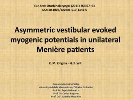 Assimetrias vestibulares no potenciais evocado miogênico em