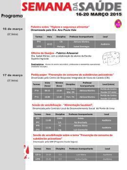 Programa (semana PES) - Agrupamento de Escolas de Arcozelo