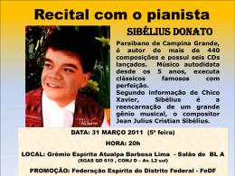 Recital com o pianista - Grêmio Espírita Atualpa Barbosa Lima