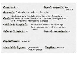 Formalização dos requisitos iniciais