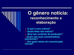 O gênero notícia - Faculdade Unicampo
