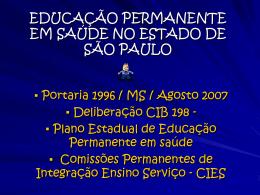 Educação Permanente em Saúde no Estado de São Paulo