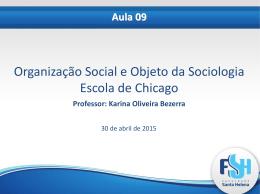 Aula 09 Organização social, escola de chicago