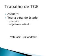 TGE - Conceito, Objetivo e Método