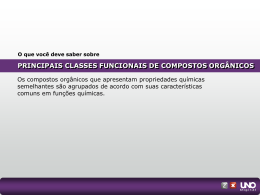 PRINCIPAIS CLASSES FUNCIONAIS DE COMPOSTOS