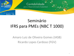 Seminário IFRS para PMEs (NBC T 1000)