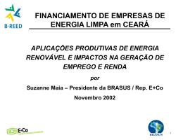 Aplicações de energia renovavel e impactos na geração - B-REED