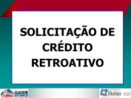 solicitação de crédito retroativo solicitação de crédito retroativo