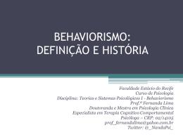 BEHAVIORISMO: DEFINIÇÃO E HISTÓRIA