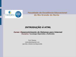 Introdução à HTML DESENVOLVIMENTO DE SISTEMAS PARA