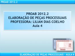 PROAB 2012.2 ELABORAÇÃO DE PEÇAS PROCESSUAIS