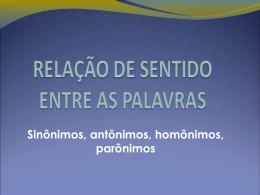 RELAÇÃO DE SENTIDO ENTRE AS PALAVRAS