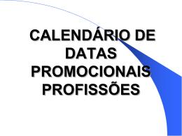 CALENDÁRIO DE DATAS PROMOCIONAIS PROFISSÕES