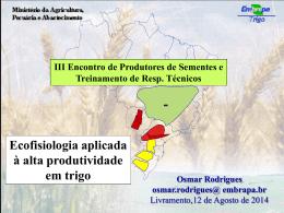 crescimento e desenvolvimento das plantas de trigo