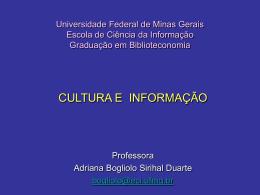Universidade Federal de Minas Gerais Escola de Ciência