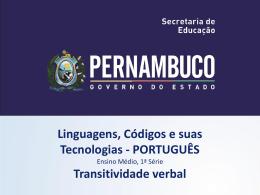 Transitividade verbal - Governo do Estado de Pernambuco