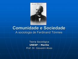 Comunidade e Sociedade A sociologia de