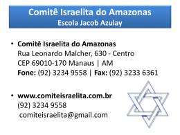 Comitê Israelita do Amazonas Escola Jacob Azulay TURMA BEIT