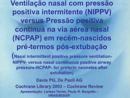 Ventilação nasal com pressão positiva intermitente (VNPPI) versus