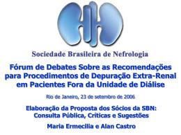 proposta do relator - Sociedade Brasileira de Nefrologia