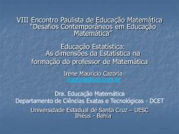 As dimensões da Estatística na formação do professor de - PUC-SP