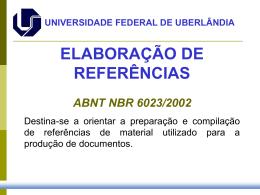 Referências - Sistema de Bibliotecas da UFU