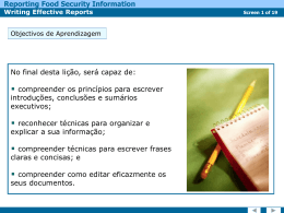 Reporting Food Security Information Writing Effective Reports