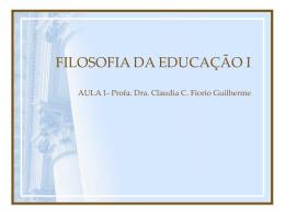 FILOSOFIA DA EDUCAÇÃO I