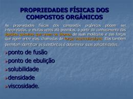 Propriedades físicas dos compostos orgânicos 2