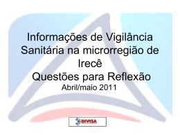 Situação da Vigilância Sanitária no Estado da Bahia