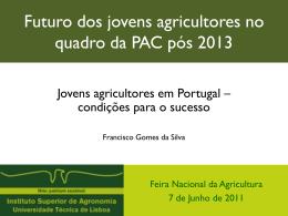 Futuro dos jovens agricultores no quadro da PAC pós 2013