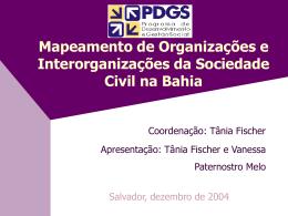Mapeamento de Organizações e Interorganizações da Sociedade