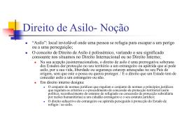 Direito de Asilo - Faculdade de Direito da UNL
