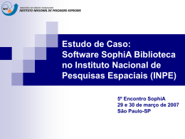 Software SophiA Biblioteca no Instituto Nacional - mtc-m17:80