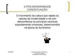 A PÓS-MODERNIDADE CONCEITUAÇÃO: O movimento da