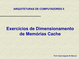 Exercícios de Dimensionamento de Cache